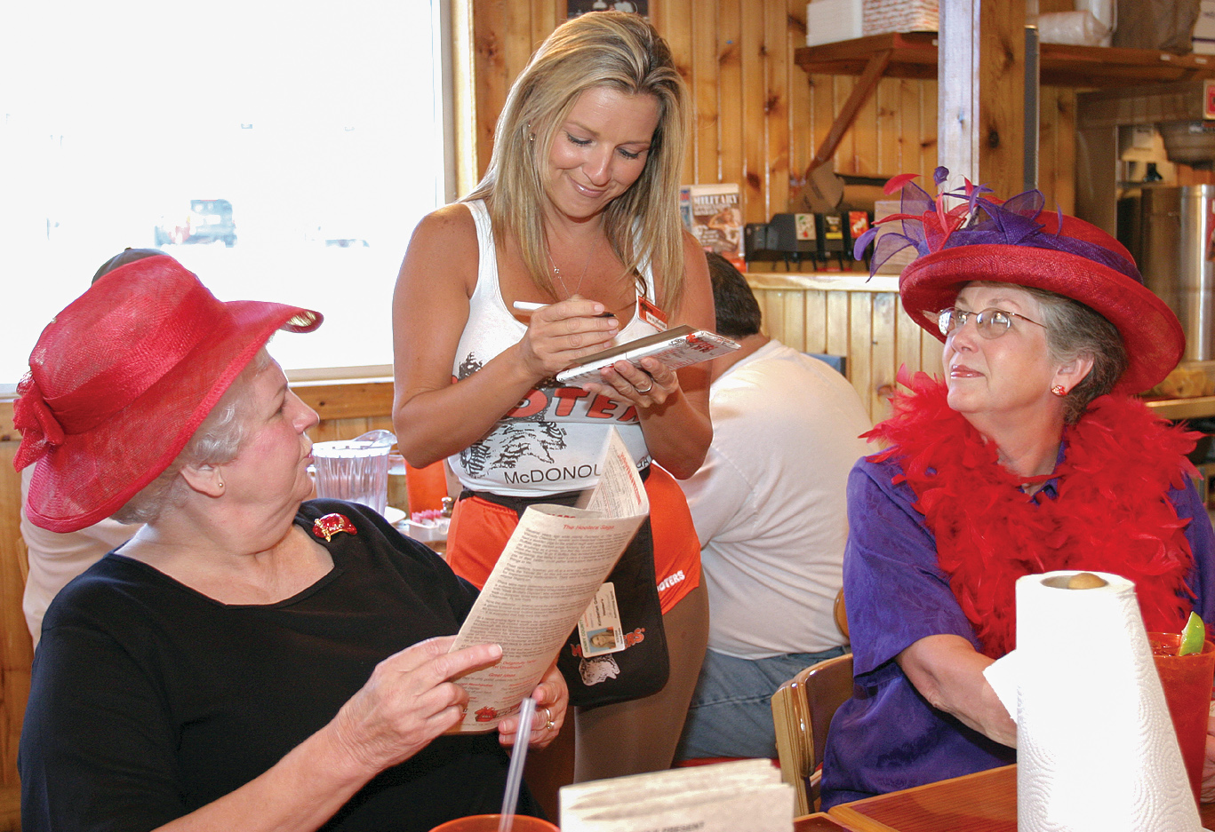 Red Hat Society at Hooters
