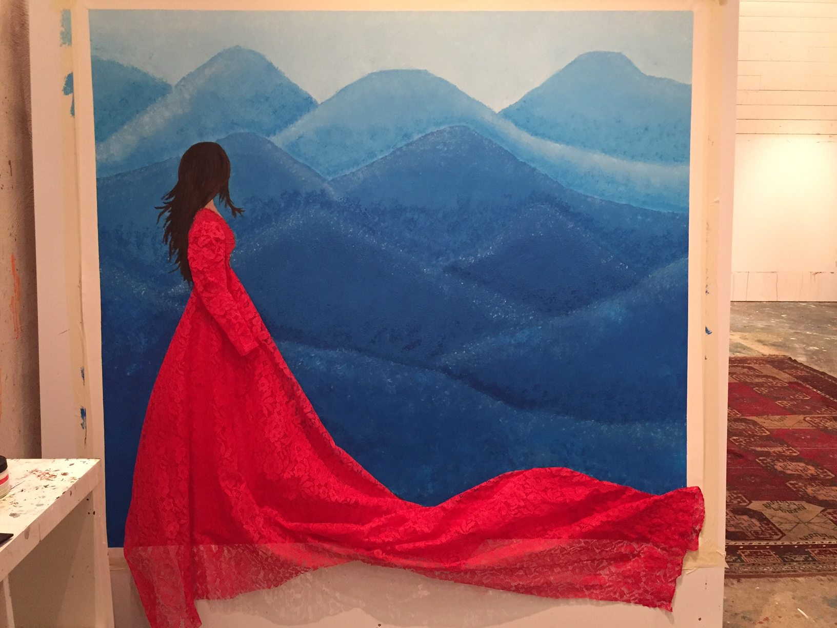 Beyond Blue, acrylic on cotton canvas, enriched with grandma´s lace curtain.