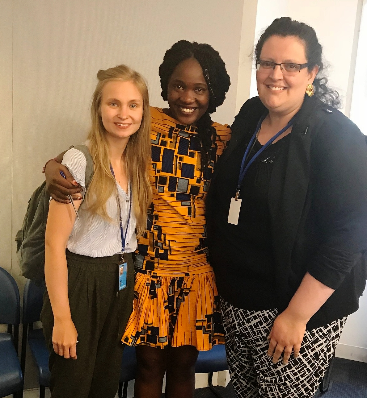 Elizabeth Okumu   with Kota's Project Coordinator Suvi Helko and Program Assistant Maria J. Rodriguez-Ferreño after the event