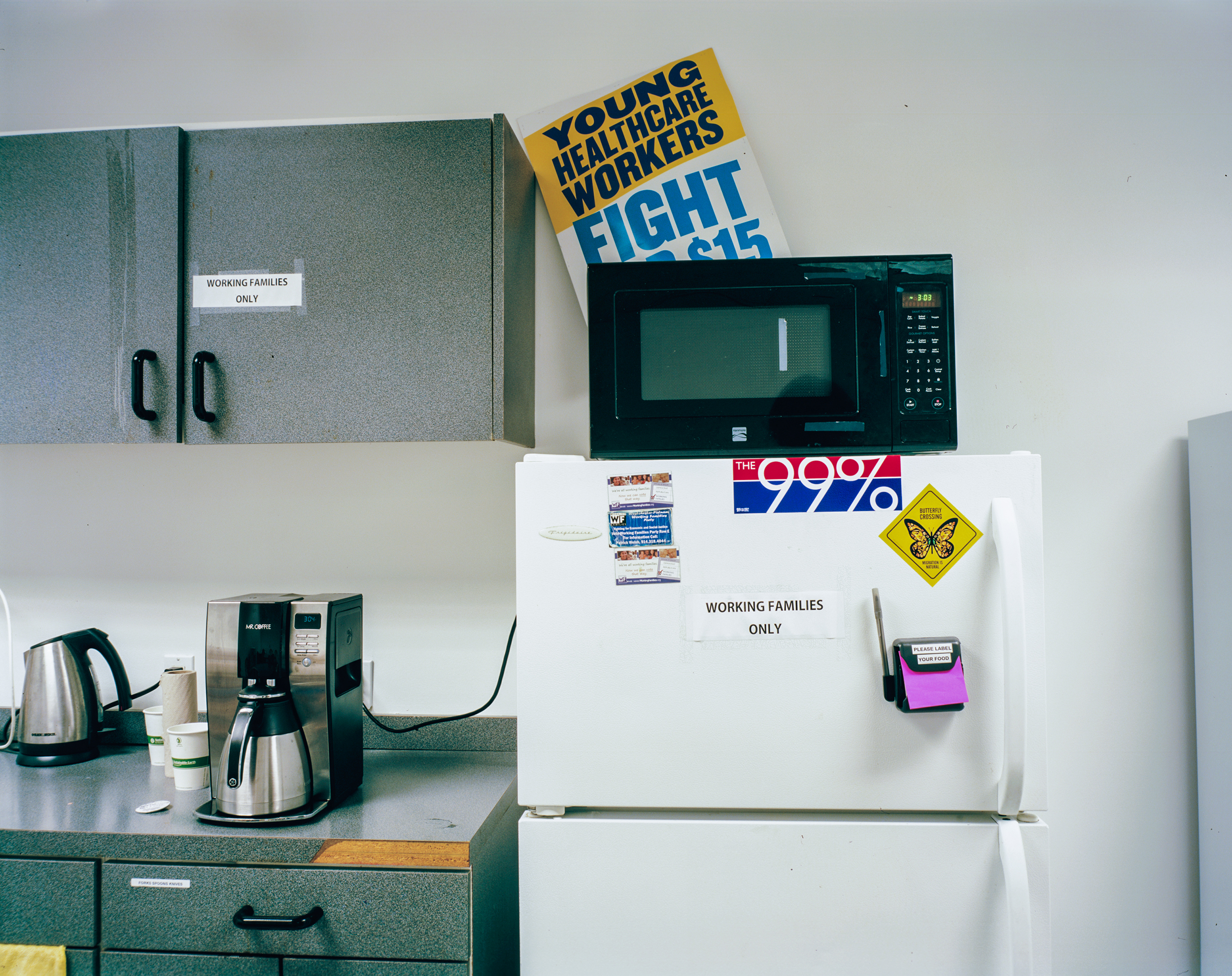 The kitchen of the Working Families Party of New York state office.