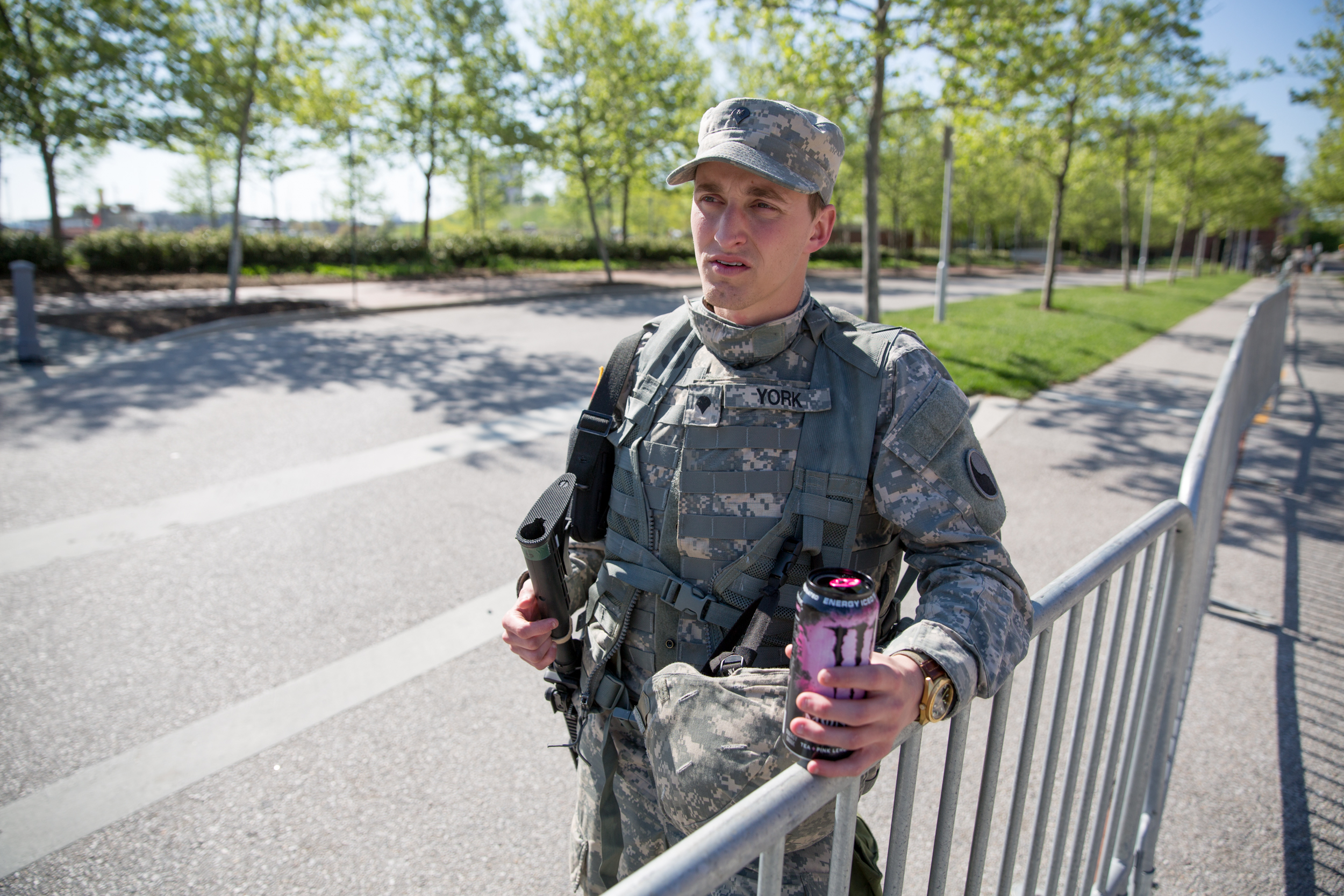 Private York of the Maryland National Guard as he serves to protect the Inner Harbor area of Baltimore, Maryland