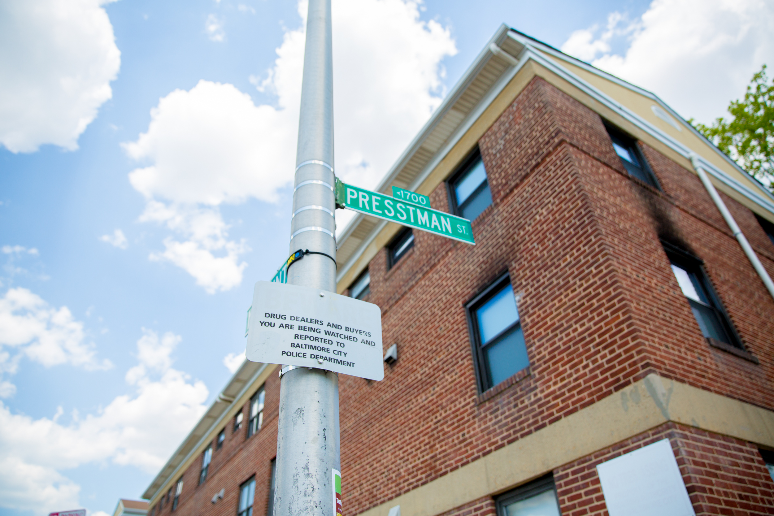 A street sign in the Sandtown neighborhood which Freddie Gray lived, and was arrested in. Baltimore, Maryland.