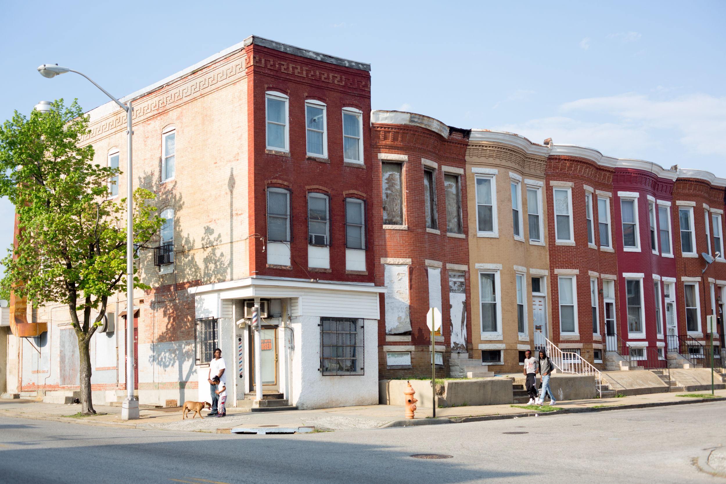 A Baltimore street corner. Baltimore, Maryland, May 3rd, 2015