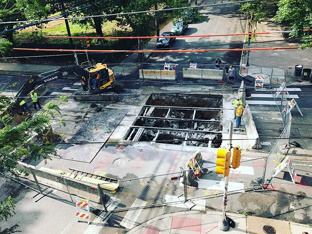 Clarkville: Best view of the sink hole that ate the neighborhood. Come gaze upon the vastness. 🕳 #clarkville #westphilly #happyhour #beer #pizza #wine #pizzabeerwine #craftbeerlife #familyhappyhour #neighborhood #community #friendly #family #familyfriendly #cornerrestaurant #baltimoreave #baltimoreavewestphilly #pizzaphilly #phillysbestpizza #westphillysbestpizza #clarkvillebeergoggles #westphillyisthebestphilly #pizzaislife