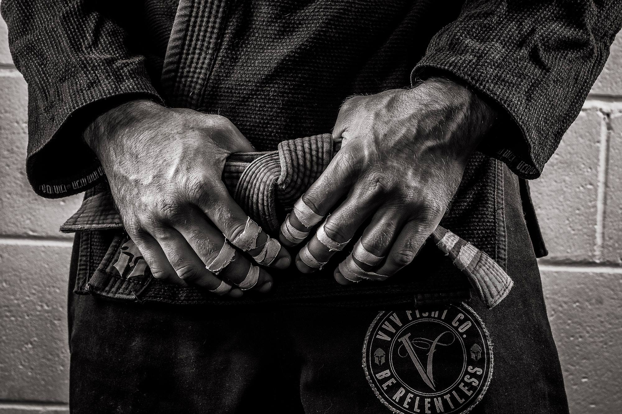 Closeup of Greg's hands and important tool in BJJ