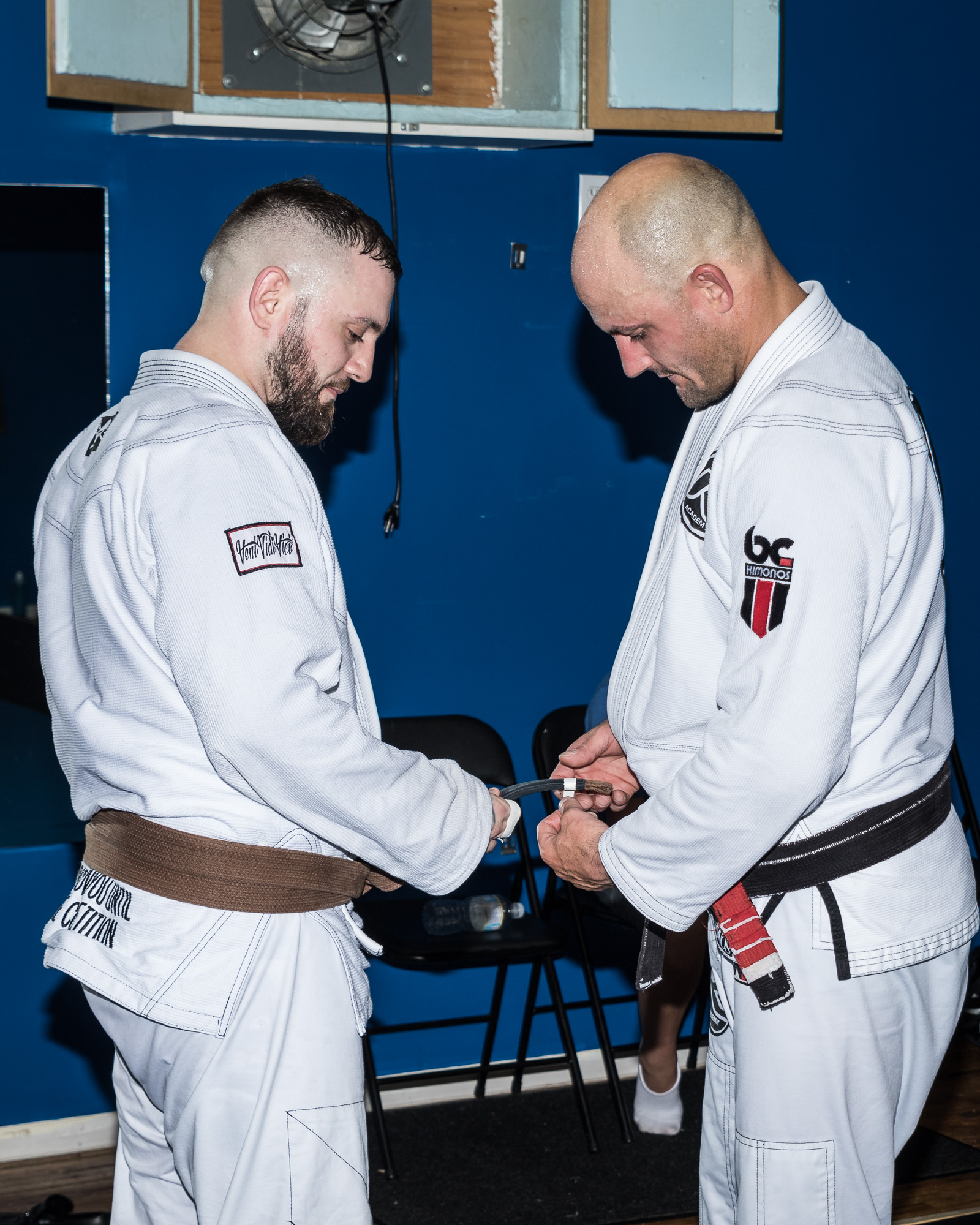 Chris earned a stripe on his brown belt.