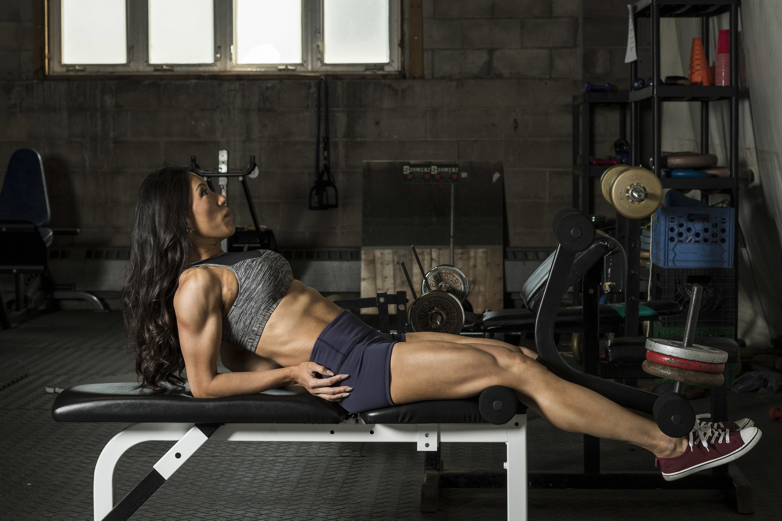 Leg extensions for quads, but don't miss her delts.