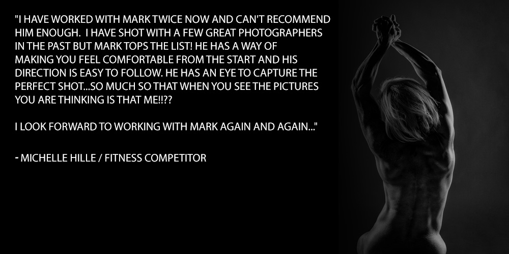 I have worked with Mark twice now and can't recommend him enough. I have shot with a few great photographers in the past but Mark tops the list! He has a way of making you feel comfortable from the start and his direction is easy to follow. He has an eye to capture the perfect shot...so much so that when you see the pictures you are thinking is that ME!!?? I look forward to working with Mark again and again..