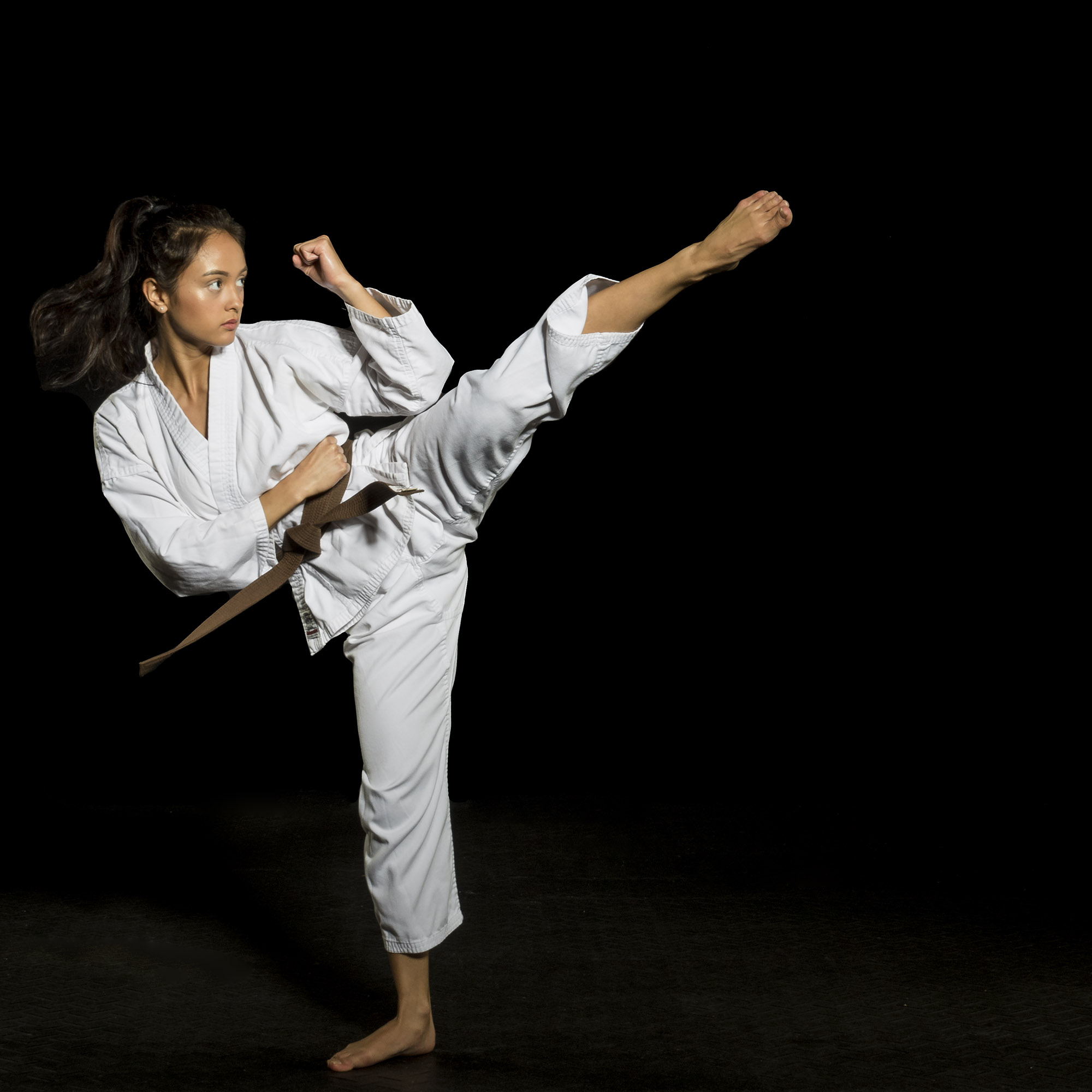 Jen is also a brown belt in Karate