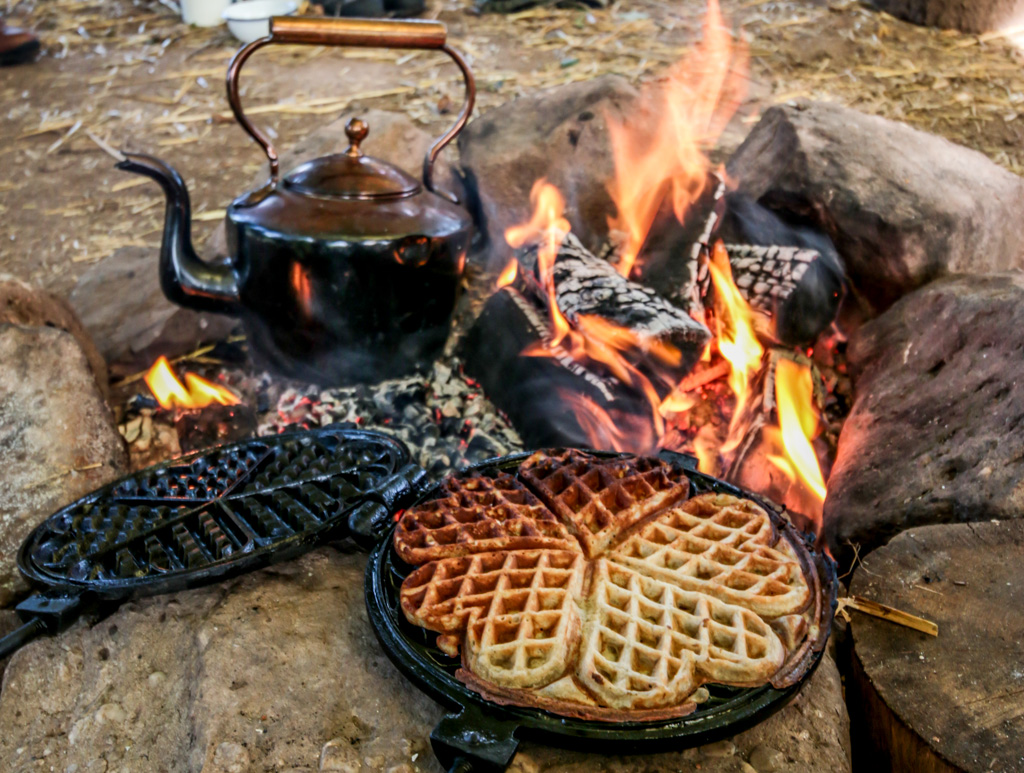 rewild retreat waffles fire campfire go wild copper kettle