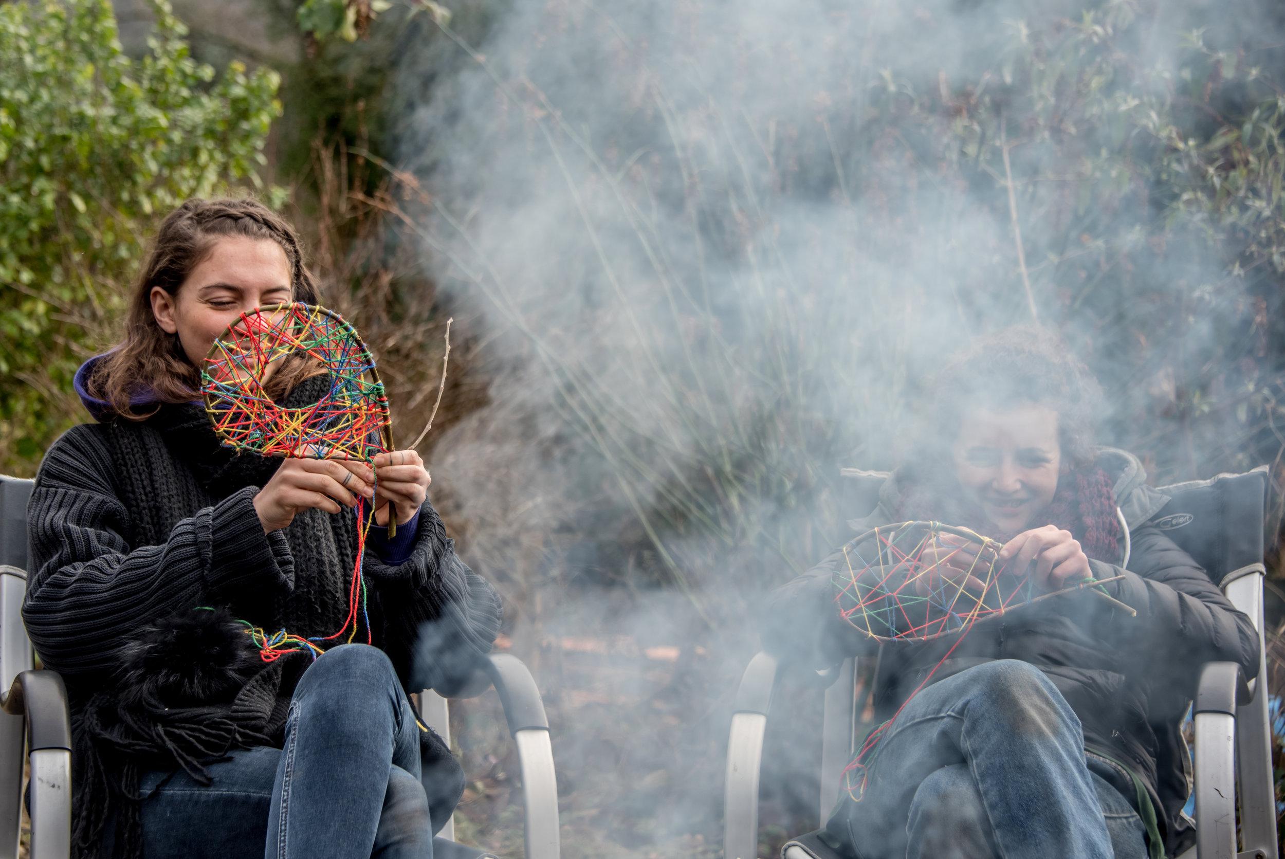 Go Wild Forest School Level 3 Training campfire dreamcatchers.jpg