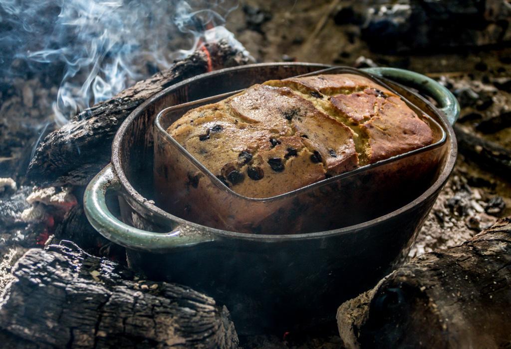 go wild forest school campfire cake banana bread