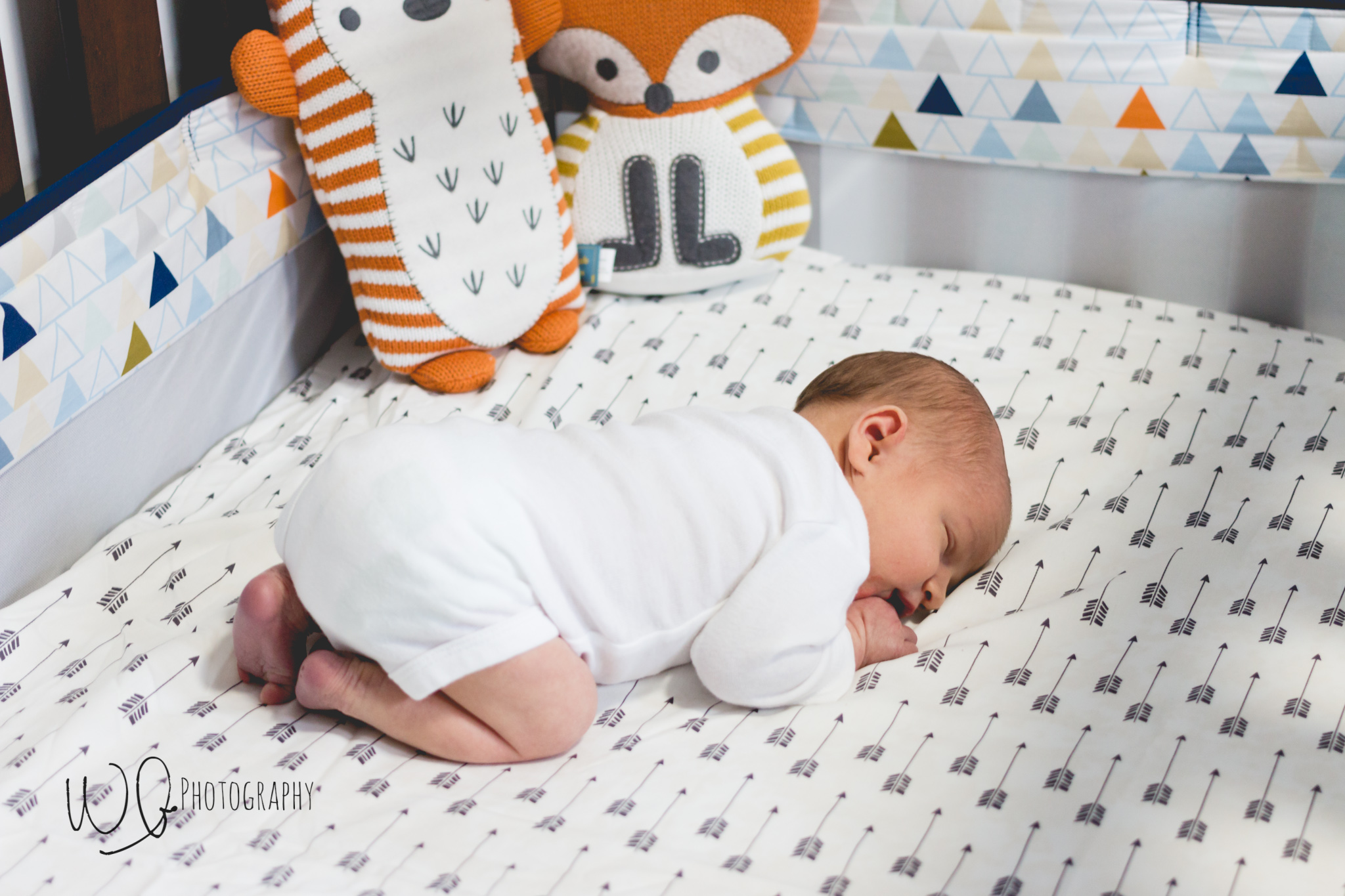 Lifestyle newborn photos with baby in crib