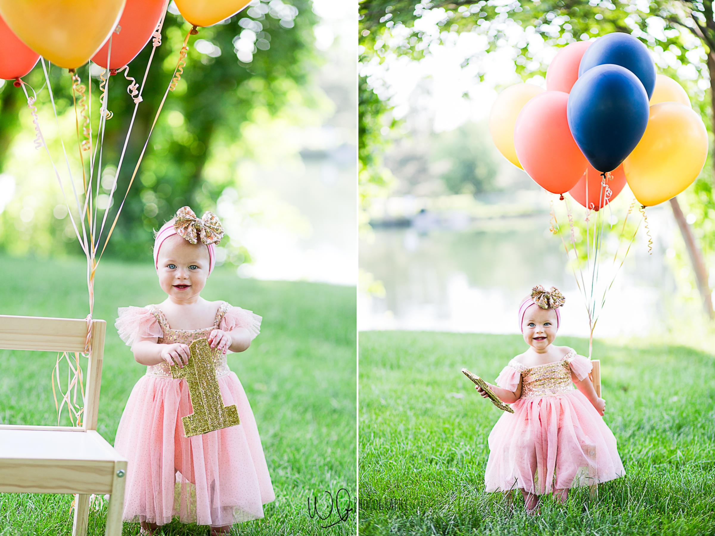 one years old balloon photo shoot