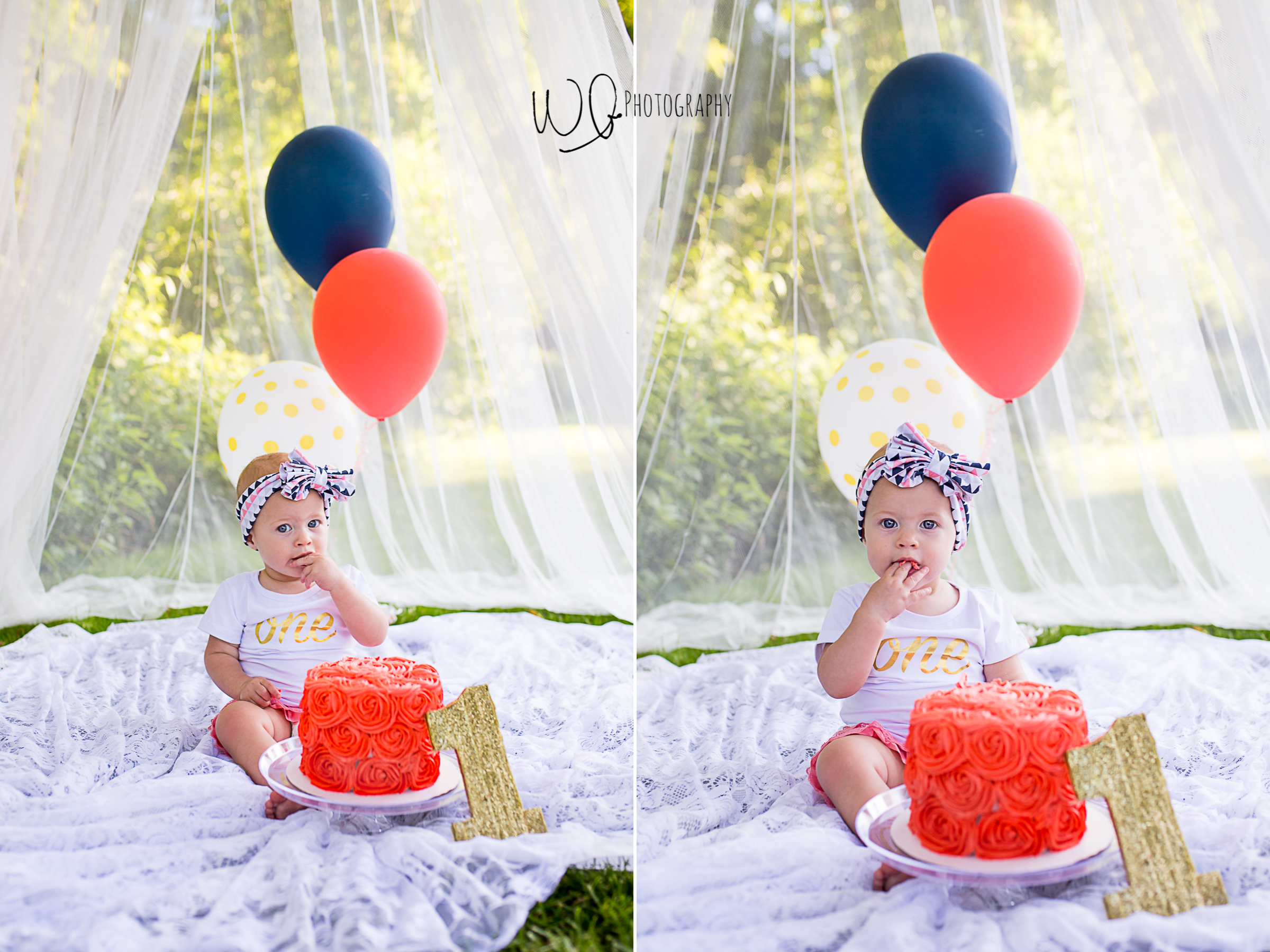 one year old girl eating cake