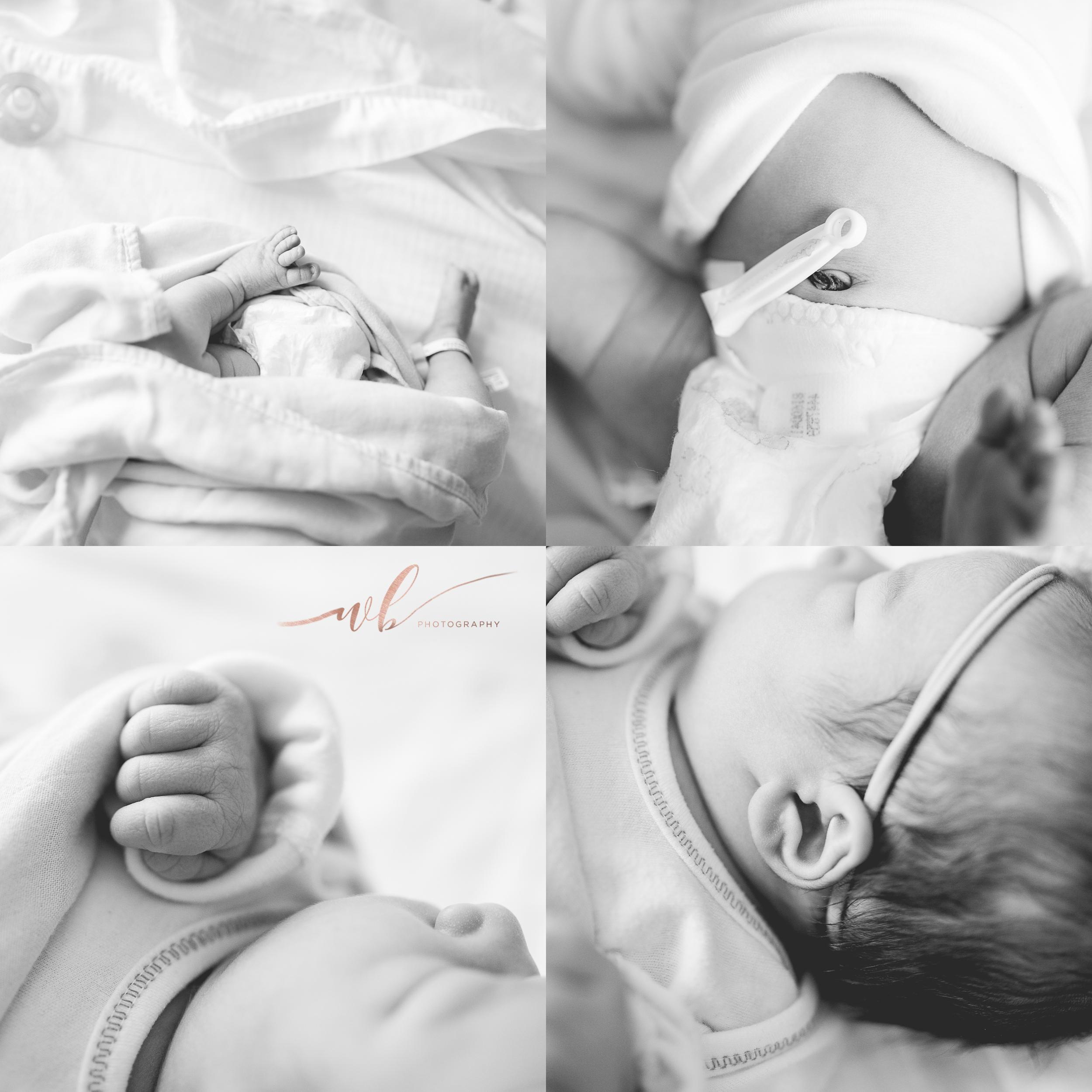 close up newborn features
