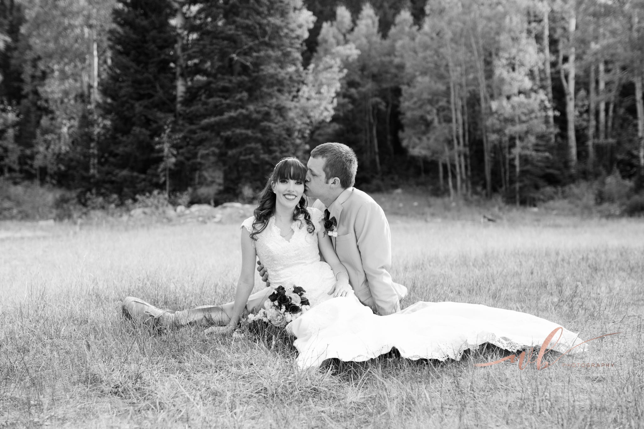 black and white bride and groom picture