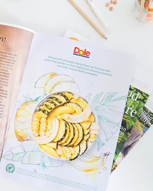 Spotted today in the latest @nadiamagazine our mix media piece we pulled together with @peadpr for @dolenewzealand. We created this fun illustration and paired it with a vibrant fruit platter which brings to life the freshness of the Dole brand! 🍌🌴🍍