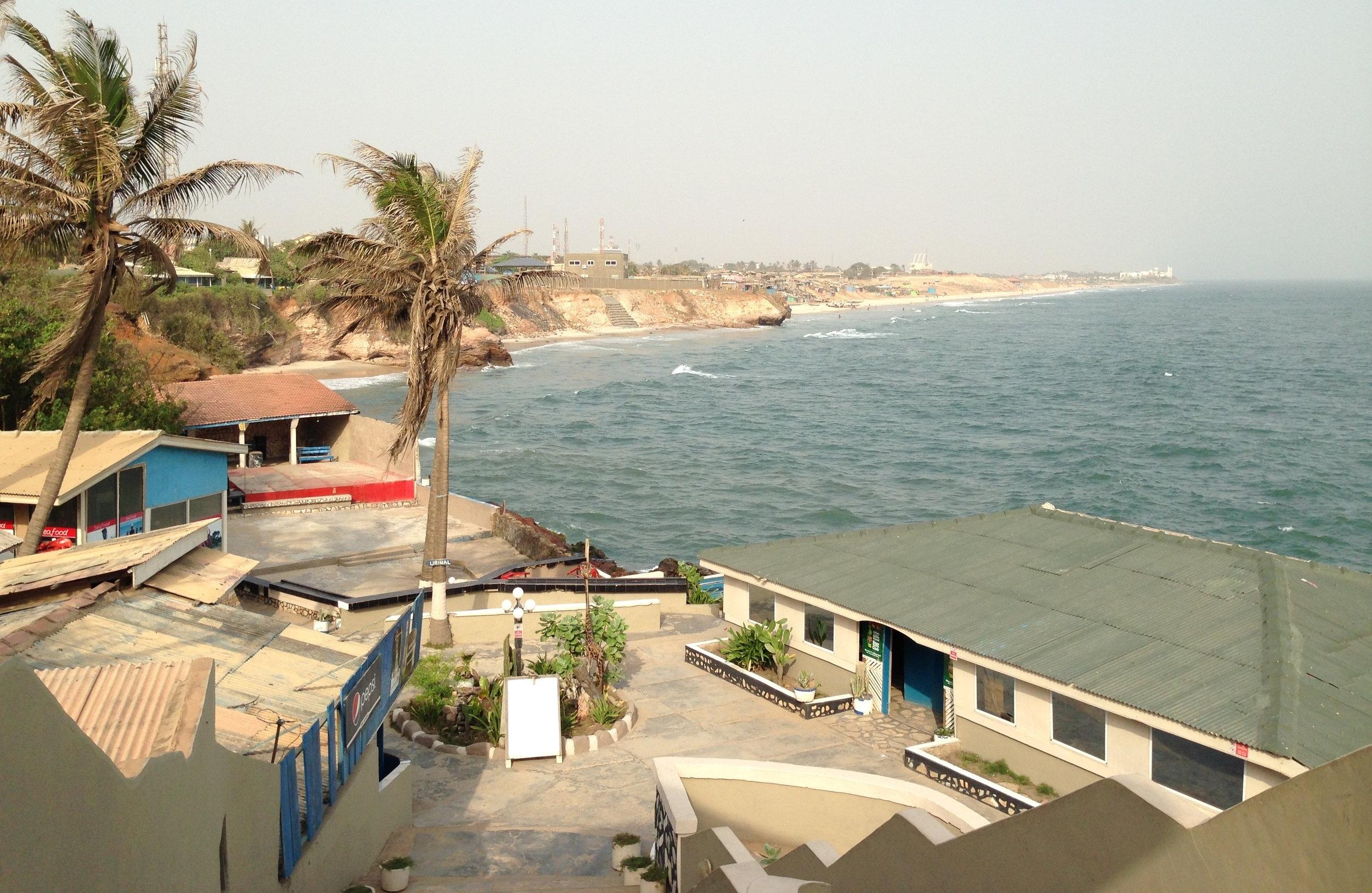 Accra Dec 2013_020_Coastline looking east to Osu Castle. At Salenko resort area. Small bar and restaurant.JPG