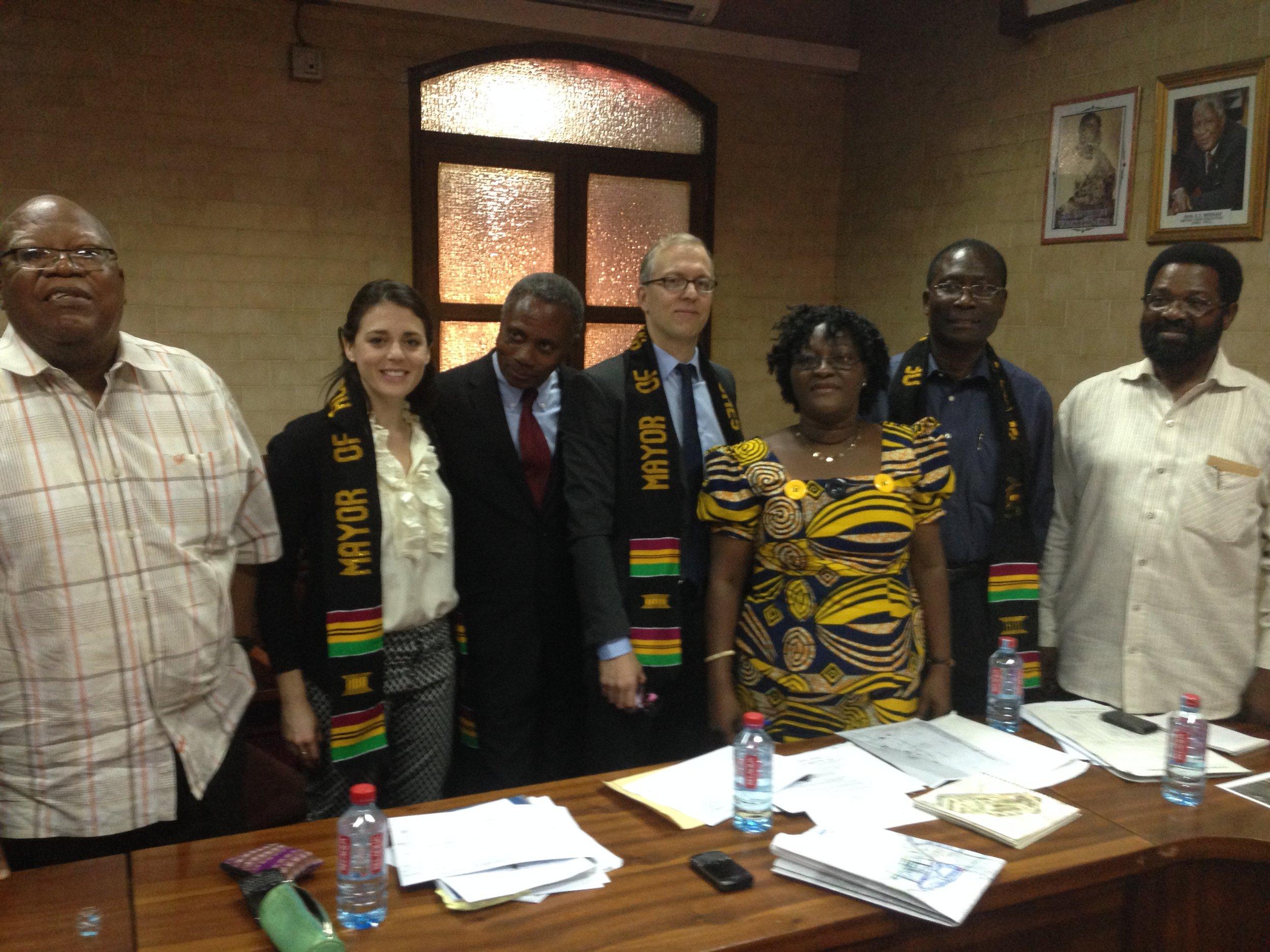 Accra Dec 2013_095_AMA Mtg. L-R_Frm Mayor Amarteifio. J Pehr. Japhet Aryiku. B Fisher. Dir of Budget Lydia Sackey. Consultant Wisdom. Hon. Mayor Vanderpuije.JPG