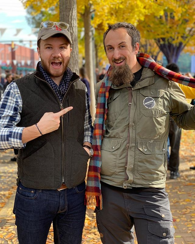 """""""Happy Birthday, @GMillener!"""" Taking in the scene with Andrew in the midst of the awesomeness that is #Gratefull #GratefullCHA #iAmGratefull #HappyBirthday #AutumnLeaves"""