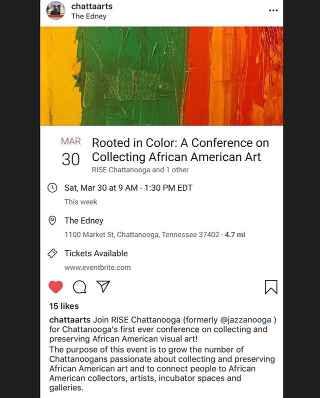 """@ChattaArts Knows What's Good."" Major Love and Light to @chattaarts for spotlighting R.I.S.E. Chattanooga's event #AtTheEdney Saturday! Come and learn more about collecting art, and connecting with artists and galleries!"