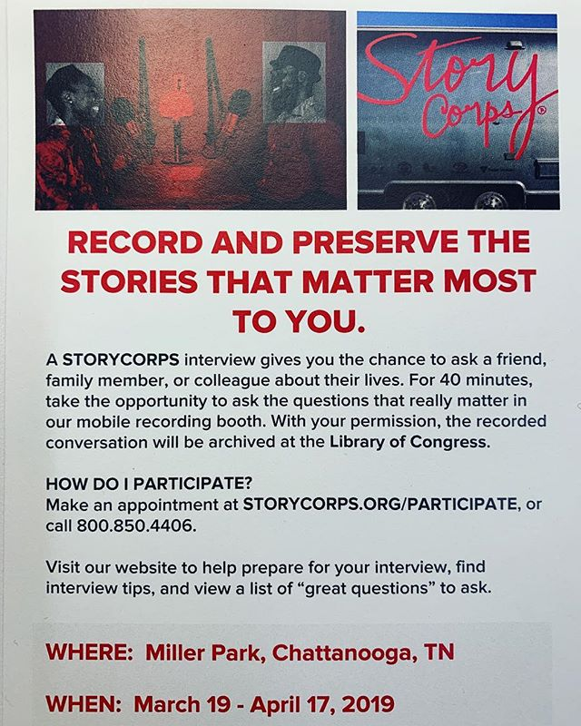 "A @StoryCorps interview gives you the chance to ask a friend, family member, colleague, or community figure about their life. For 40 minutes, invest in an opportunity to inquire about aspects of one's being that truly matter within their mobile recording booth. With your consent, the recorded conversation will be archived at #TheLibraryOfCongress.  Make an appointment at https://storycorps.org/stops/mobile-stop-chattanooga-tn/, or call 800.850.4406  Visit www.storycorps.org to help prep for your interview, find tips, and a list of ""great questions"" to consider asking.  Stationed at @MillerParkCHA, 19 MARCH - 17 APRIL  #StoryCorps #TellYourStory #CHA #CityOfCreators #ChattanoogaHistory #ForTheCulture #4US #MillerParkCHA"