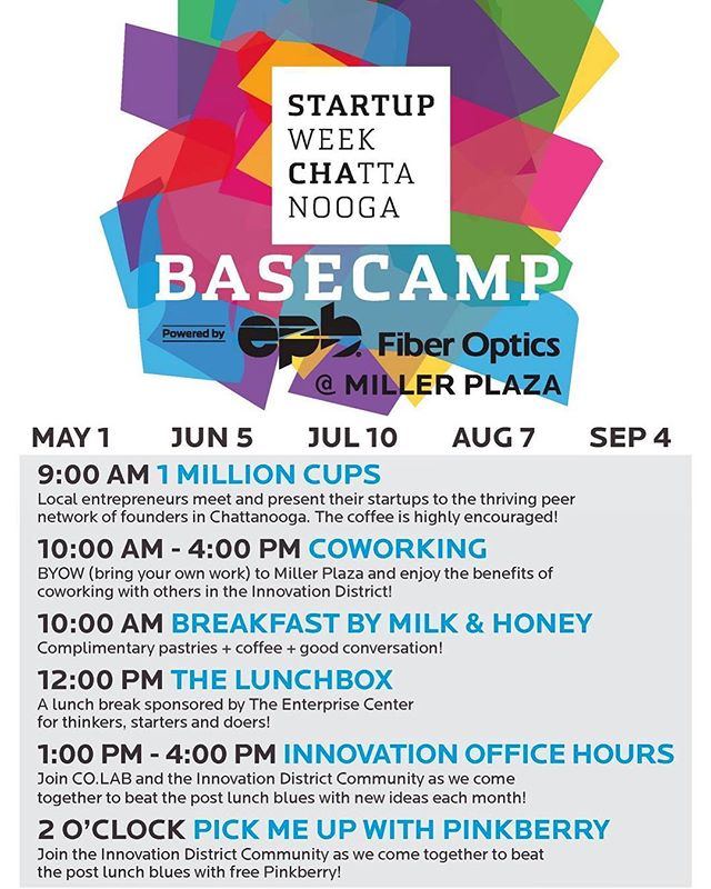 #BaseCamp2019 kicks off this Wednesday in Miller Plaza and we'd love to see you there, starting at 9AM with @1millioncupscha! Then we're #Coworking all day starting at 10AM, with a light breakfast compliments of @mandhgelato! Stay with us as we cruise into #TheLunchBox at 12PM, courtesy of The Enterprise Center! From 1PM - 4PM, connect with @thecompanylab and get some of your entrepreneurial questions answered! Finally at 2PM, get revived with FREE @pinkberrychatt!  #BYOW #BringYourOwnWork #Collide #Connect in the #InnovationDistrictCHA!