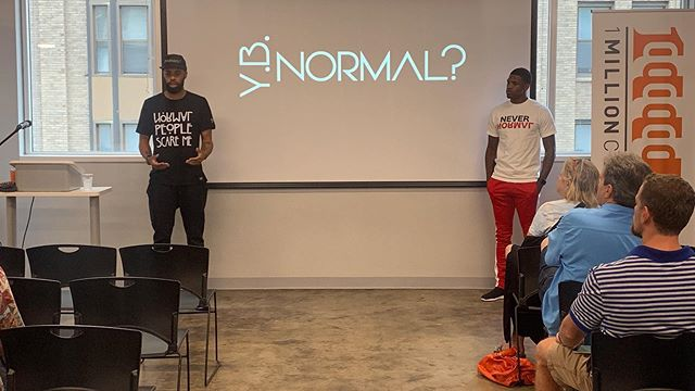 """Normal People Are Scary!"" @y.b.normal2016 presenting their program to service the youth of the #GigCity to @1millioncupscha attendees on 7/25/19."