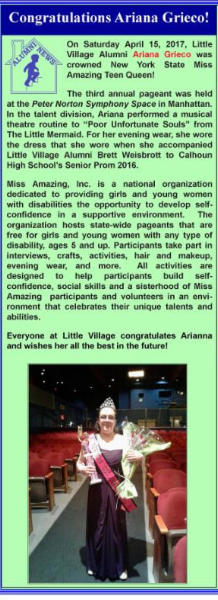 Ariana is featured in the Hagedorn Little Village Newsletter!