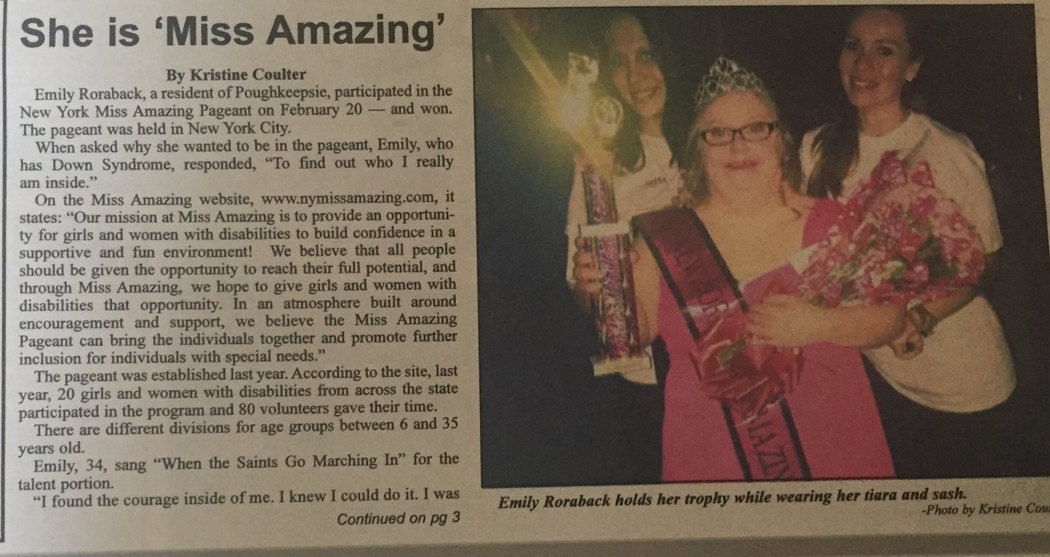 Emily has appeared in Valley Community Magazine AND the Southern Duchess Local Newspaper!