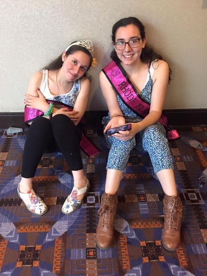 Sandy hanging around with Miss Rhode Island at the National Miss Amazing Pageant in Chicago, IL.