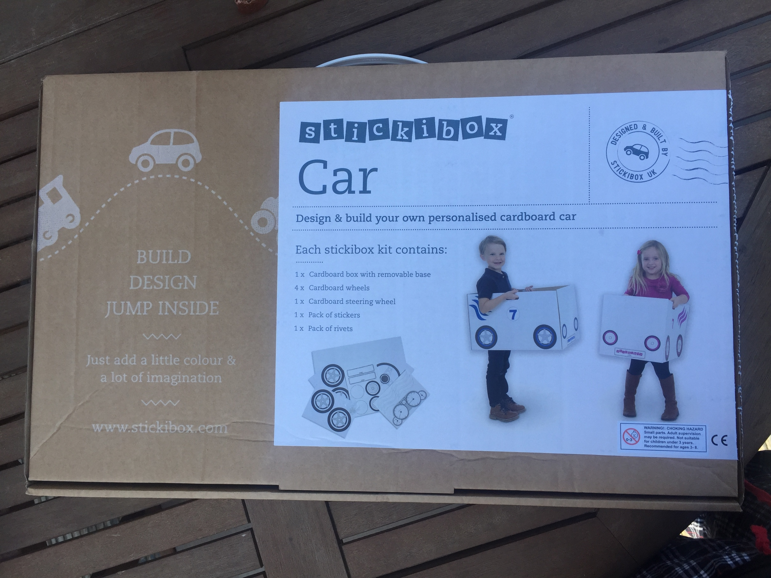 Stickibox was founded by two mums, Pip & Kerry, who were inspired after watching their children create a car our of an empty cardboard box. And,Stickibox was born. All of Stickibox products are made in the UK and each kit is made from recycled material which can be recycled again after use.