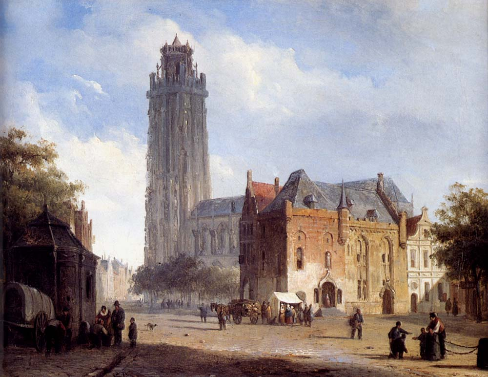 Cornelis Springer - A Cathedral On A Townsquare In Summer.jpg