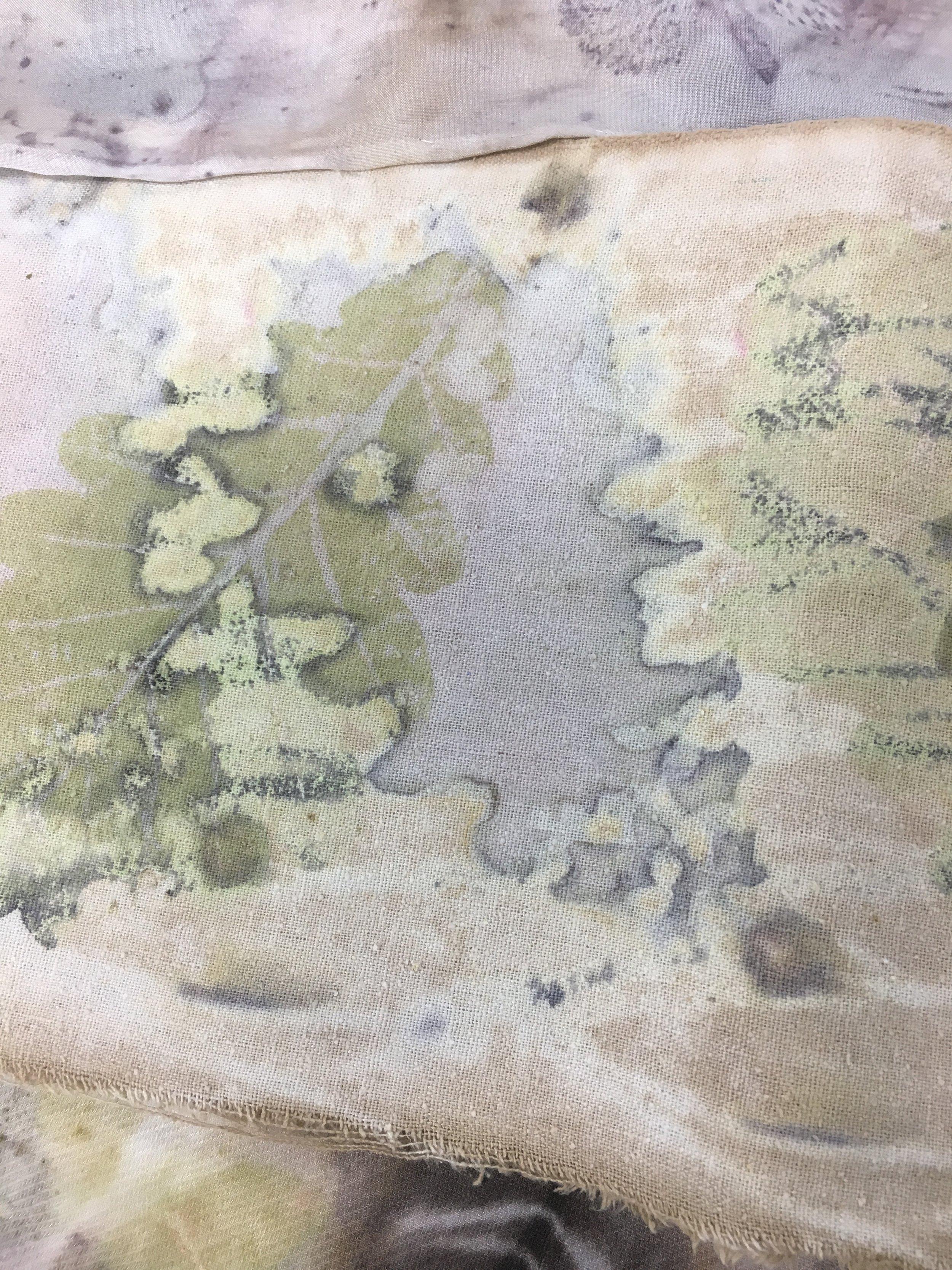 Detail of work made in Kirsten Ingmar's Plant Dyeing Workshop, Ballarat