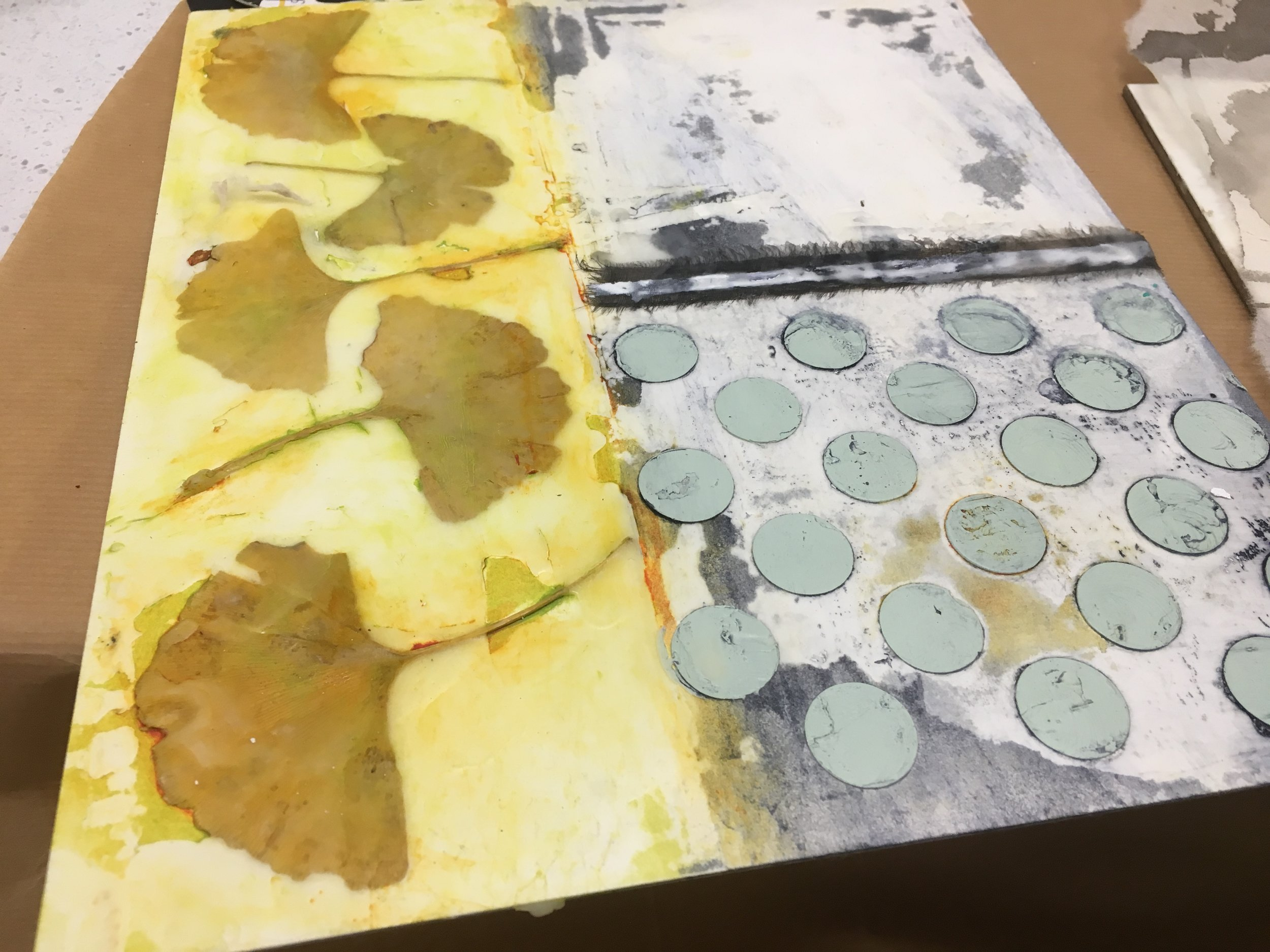 Work in progress spotted on the workbench in Judith Gray's Encaustic Workshop