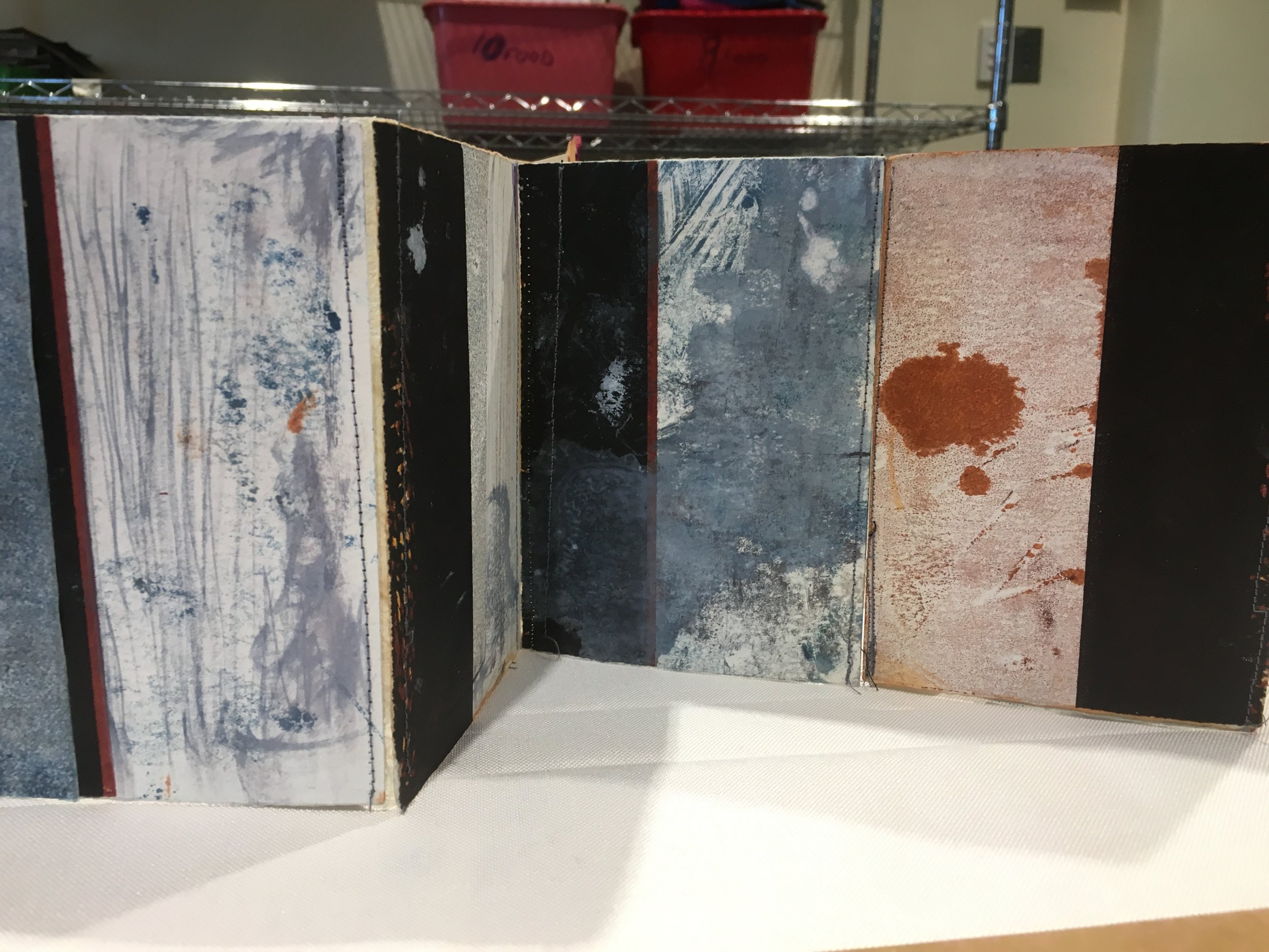 Student work in the Final day Exhibition - Print and Stitch Bookwork
