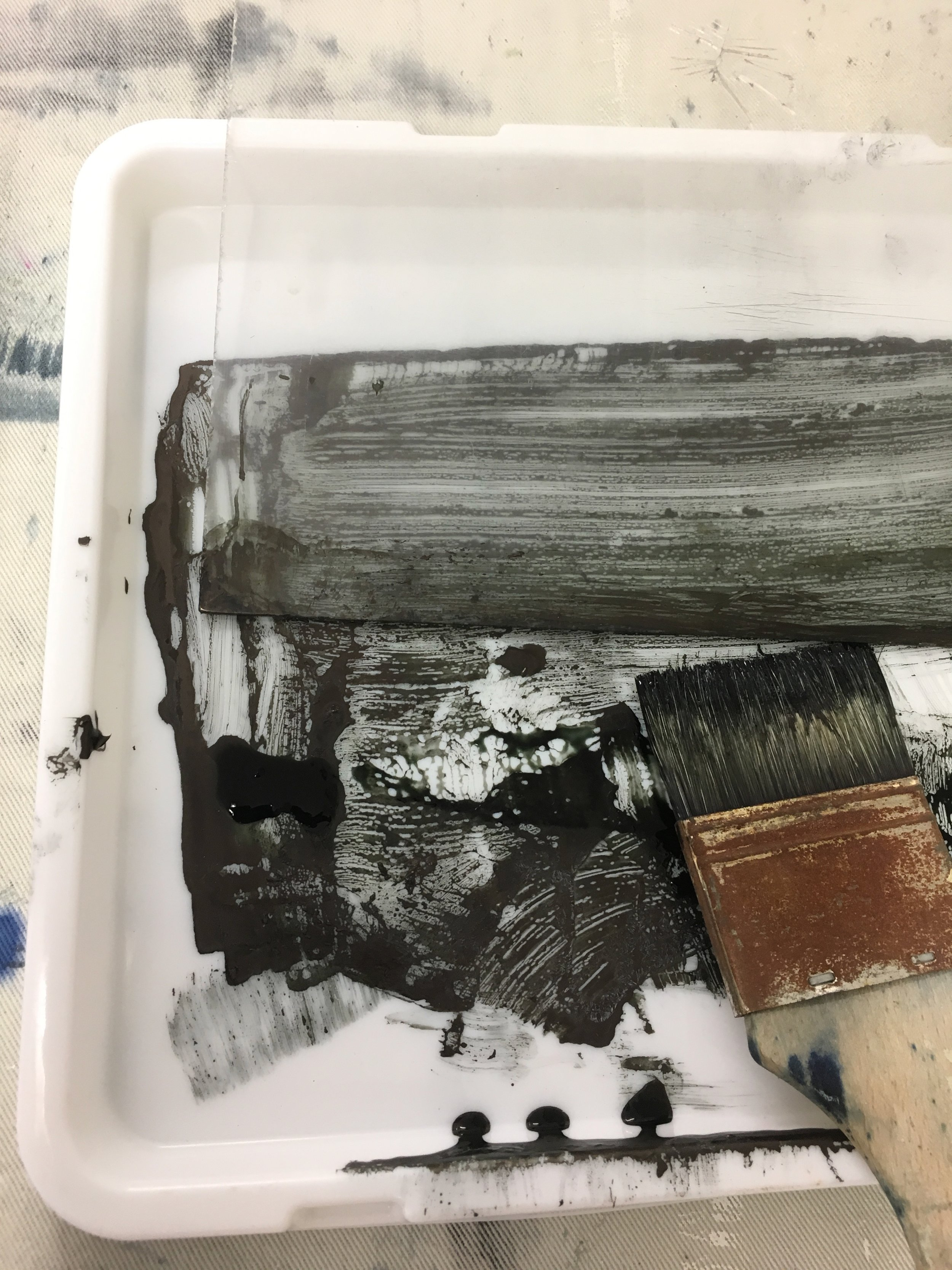 Helen's palette in the studio - For the main part of the day we undertook some practical experimentation with media and imagery.