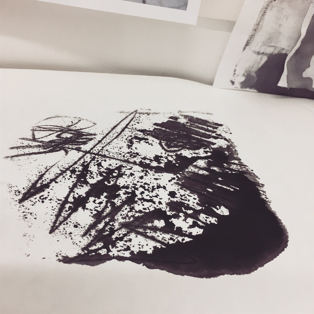 Monoprint drawing, drawing ink on Japanese paper.