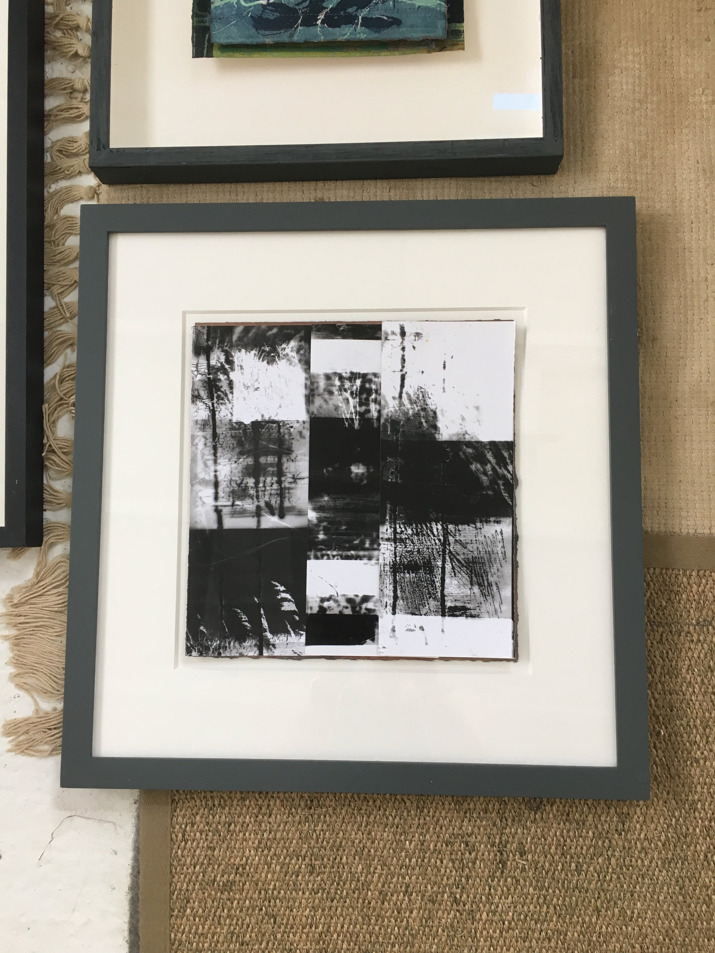 Photograms laid out on my studio floor at Whitwell and thinking about composition and how they could be framed up.