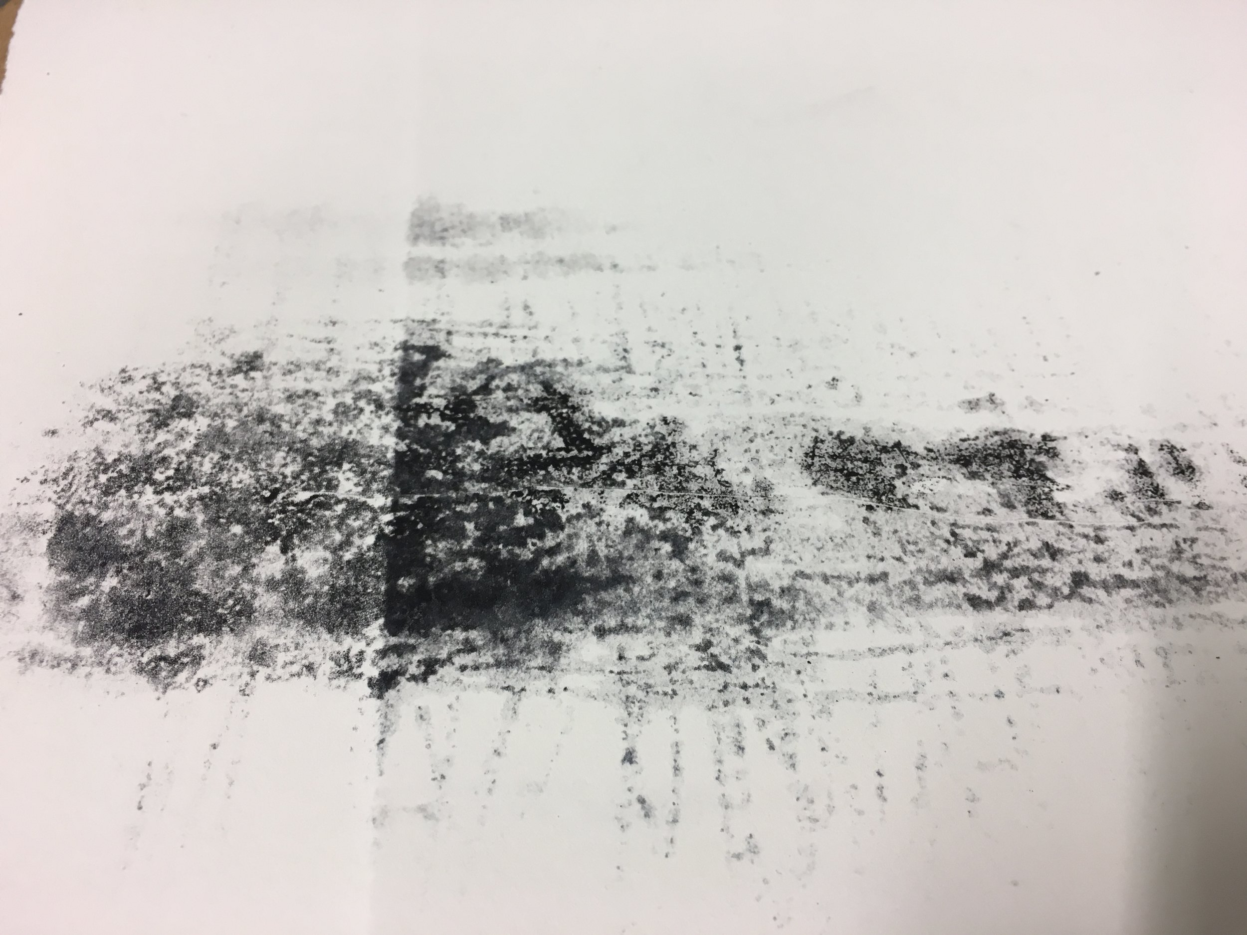 One of the drawings I produced from the day  - 'ghost' mono print from carborundum plate , on paper