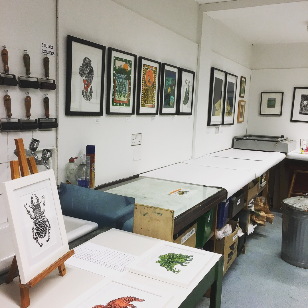 Digswell Arts Print Studio set up for Open Studios May 11/12  Work by Jonathan Emmerson, Mary Down, Jane Glynn