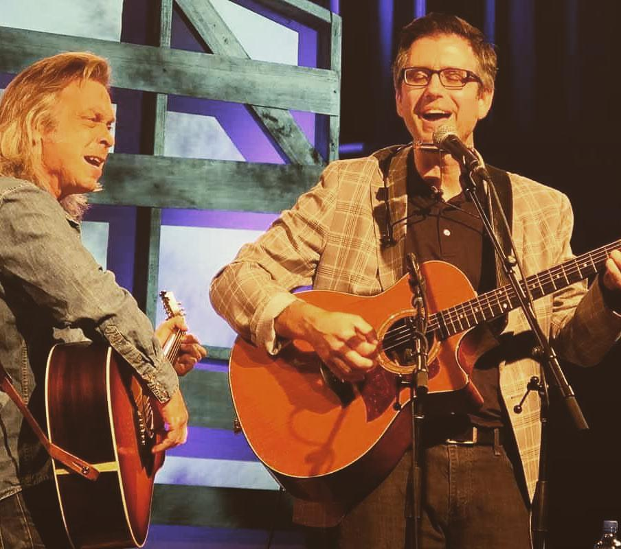 Jim Lauderdale on stage with Todd Burge