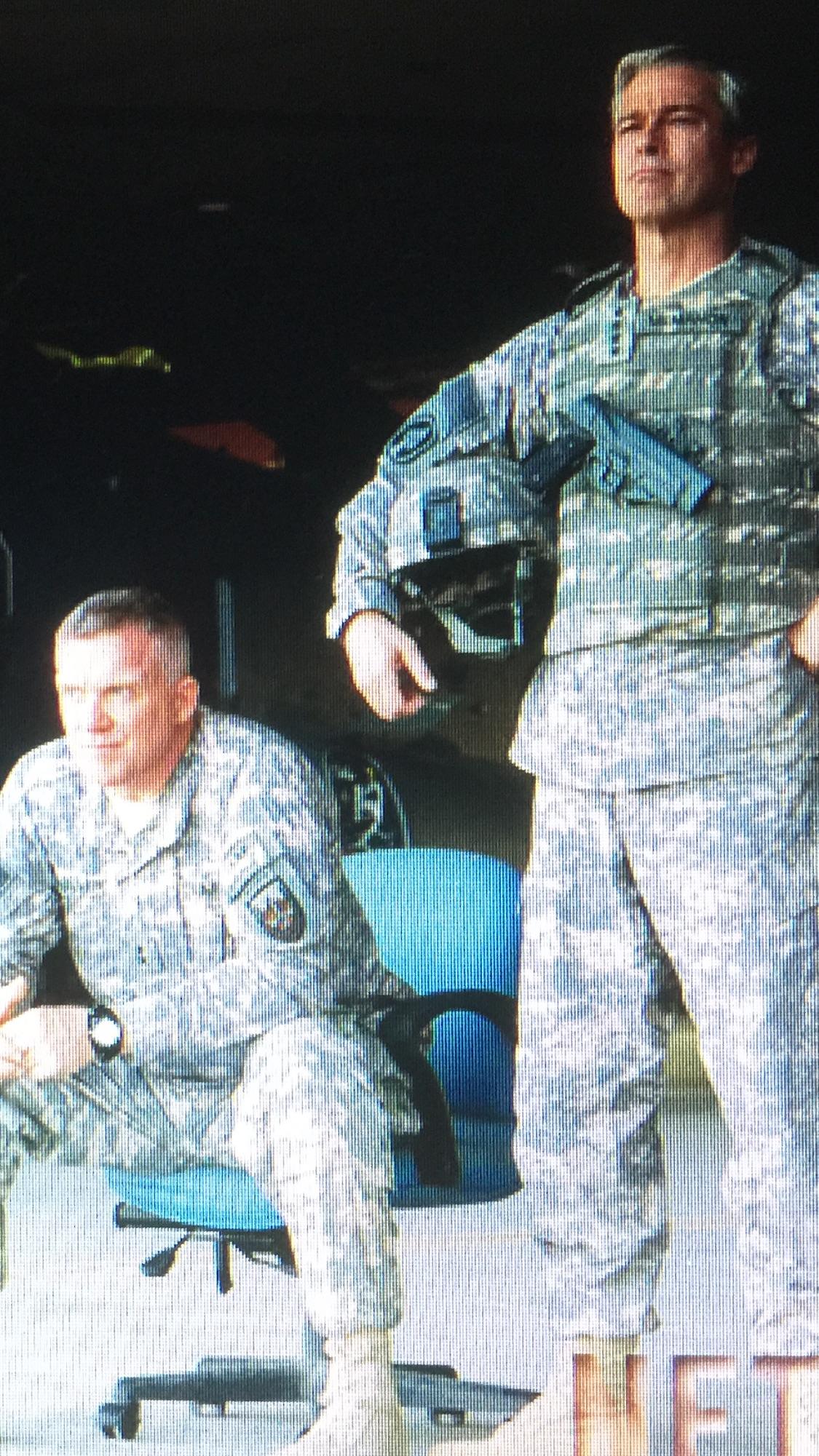 WAR MACHINES: Anthony Michael Hall is 'General Greg Pulver', Brad Pitt is 'General Glenn McMahon' in Netflix original film -  'War Machine'.