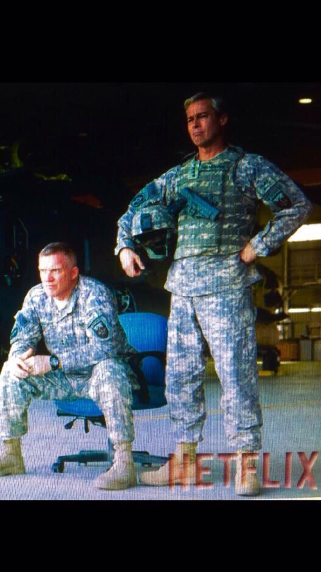 HALL, PITT in 'War Machine'.