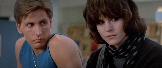 Emilio Estevez and Ally Sheedy in        'The Breakfast Club.'