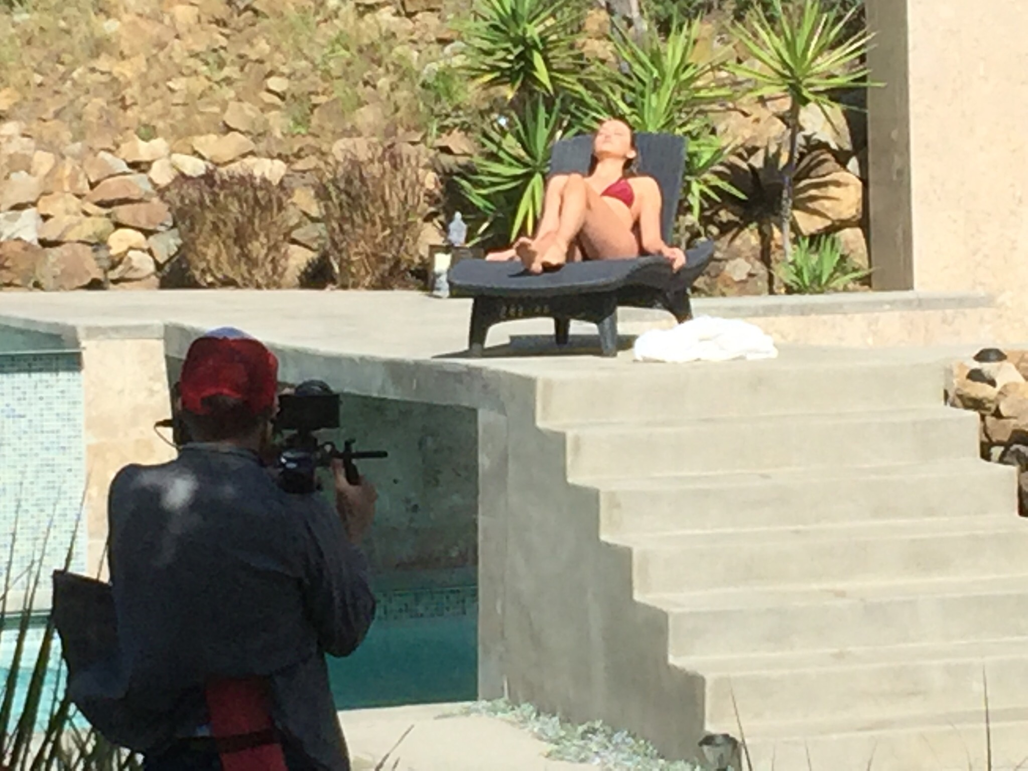 Filmmaker Carl Bessai, shoots a scene with        Ivy Matheson('Delia'), on location in Malibu filming 'The Lears.' April 2016.(photo:AMH)
