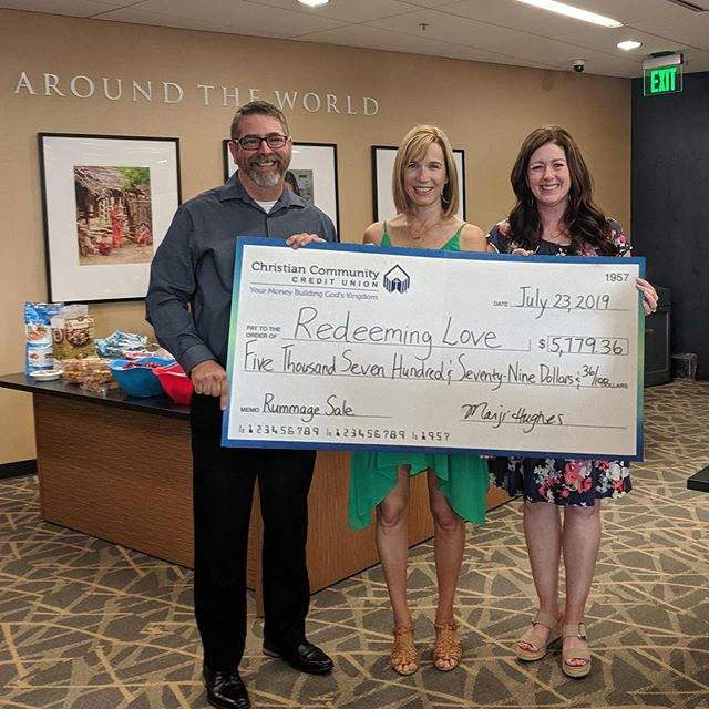 Christian Community Credit Union presented Redeeming Love board members with proceeds from their Rummage Sale for a Cause yesterday. We are so grateful for the support of our incredible partners! Thank you, @mycccu!