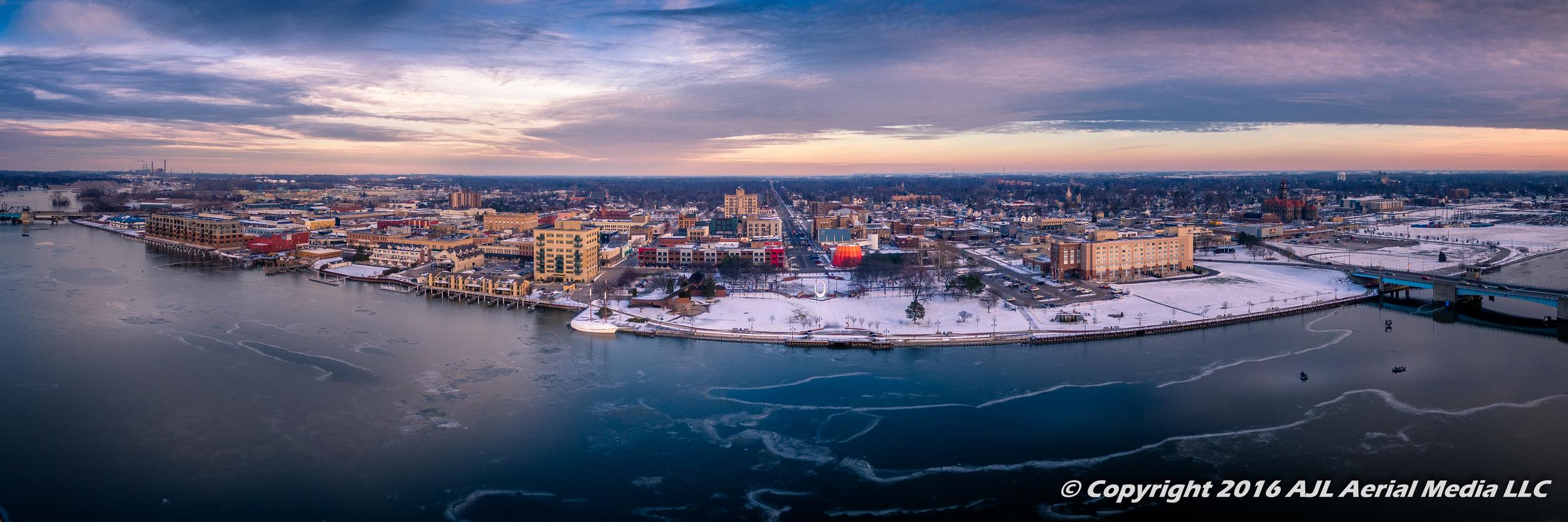 Downtown Bay City Winter 2016 Panorama