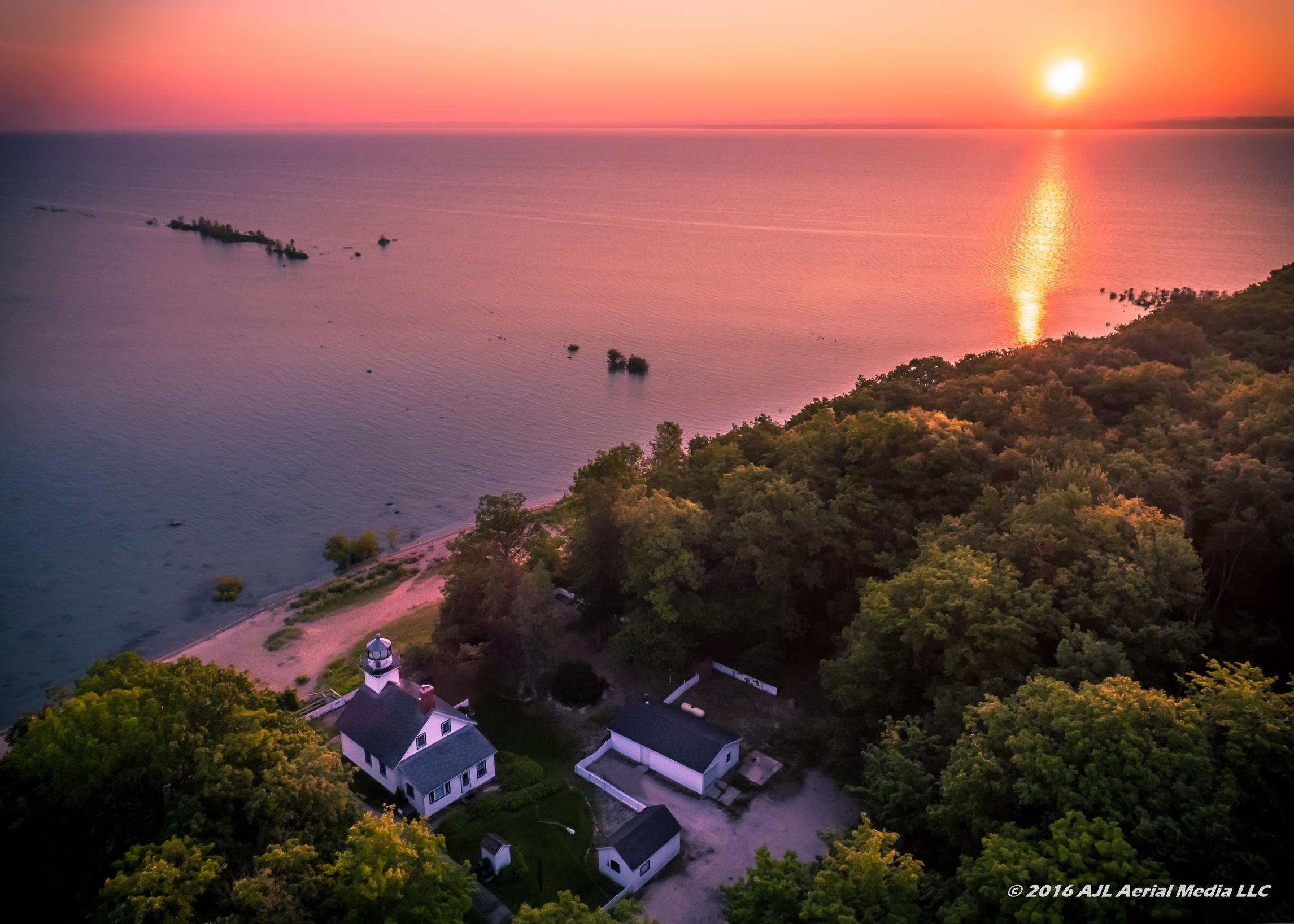 Mission Point Lighthouse Sunrise Aerial